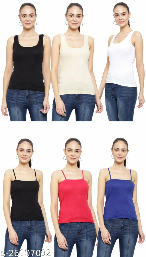 Women Pack of 6 Aqua Blue Cotton Camisoles