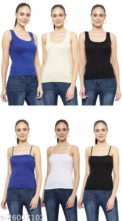Women Pack of 6 Yellow Cotton Camisoles