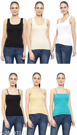 Women Pack of 6 Teal Cotton Camisoles