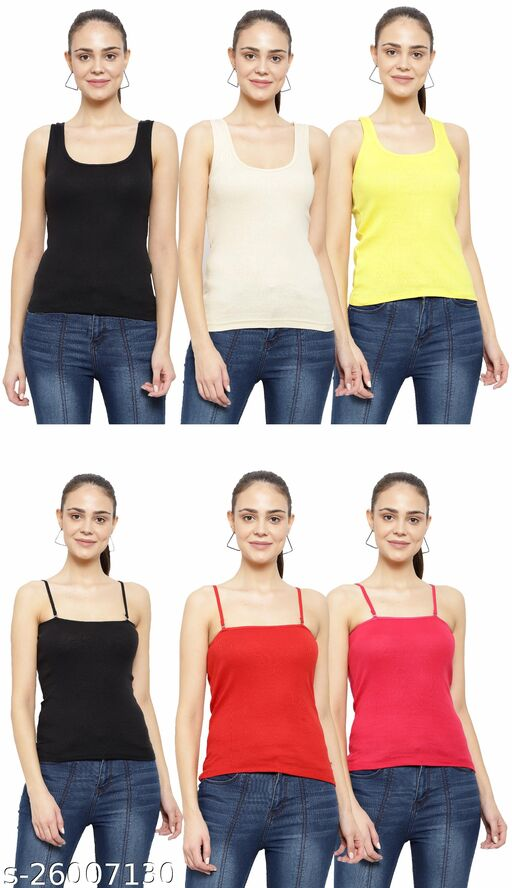 Women Pack of 6 Silver Cotton Camisoles