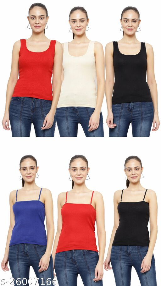 Women Pack of 6 Mustard Cotton Camisoles