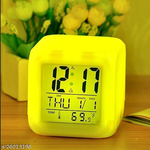 Tornado LED Colour-Change Digital Alarm Clock with Calendar, Timer Watch and Temperature Reading (Multicolour)
