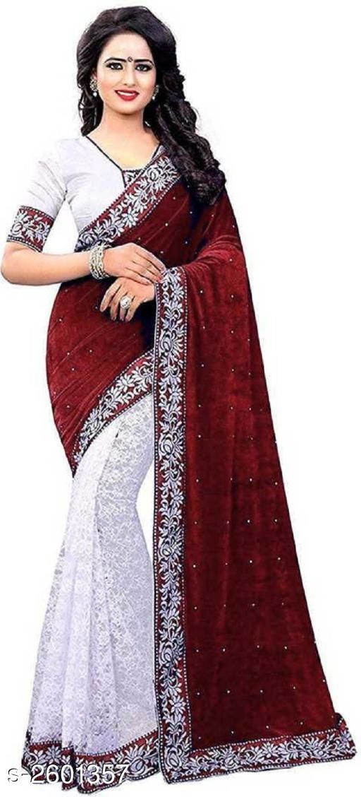 Sarees Attractive Velvet Lace Work Saree  *Fabric* Saree - Velvet, Blouse - Velvet 