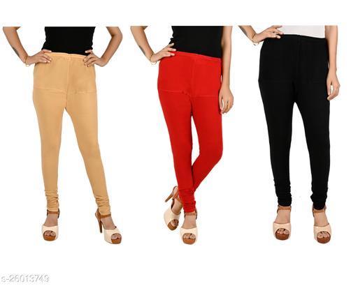 ERRISH Cotton Lycra V-Cut Leggings For Womens | Cotton Lycra Churidar For Ladies | Ankle Length Leggings for Girl's | Free-Size Ultra Soft Cotton (Pack of 3, Cream +Red + Black)