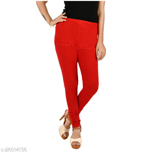ERRISH Cotton Lycra V-Cut Leggings For Womens | Cotton Lycra Churidar For Ladies | Ankle Length Leggings for Girl's | Free-Size Ultra Soft Cotton (Red, Pack of 1)