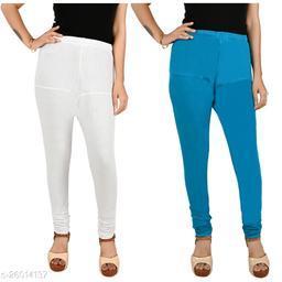 ERRISH Cotton Lycra V-Cut Leggings For Womens | Cotton Lycra Churidar For Ladies | Ankle Length Leggings for Girl's | Free-Size Ultra Soft Cotton Lycra Leggings (Pack of 2, White + Blue)