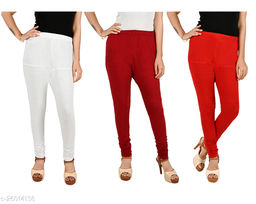 ERRISH Cotton Lycra V-Cut Leggings For Womens | Cotton Lycra Churidar For Ladies | Ankle Length Leggings for Girl's | Free-Size Ultra Soft Cotton (Pack of 3, White+Maroon+Red)