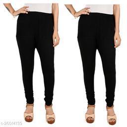 ERRISH Cotton Lycra V-Cut Leggings For Womens | Cotton Lycra Churidar For Ladies | Ankle Length Leggings for Girl's | Free-Size Ultra Soft Cotton (Black, Pack of 2)