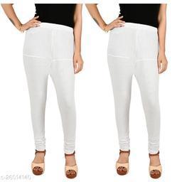 ERRISH Cotton Lycra V-Cut Leggings For Womens | Cotton Lycra Churidar For Ladies | Ankle Length Leggings for Girl's | Free-Size Ultra Soft Cotton (White, Pack of 2)