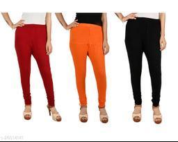 ERRISH Cotton Lycra V-Cut Leggings For Womens | Cotton Lycra Churidar For Ladies | Ankle Length Leggings for Girl's | Free-Size Ultra Soft Cotton (Pack of 3, Maroon+Orange+Black)