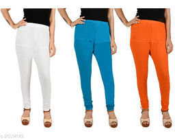 ERRISH Cotton Lycra V-Cut Leggings For Womens | Cotton Lycra Churidar For Ladies | Ankle Length Leggings for Girl's | Free-Size Ultra Soft Cotton (Pack of 3, White+Blue+Orange)