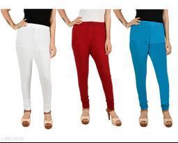 ERRISH Cotton Lycra V-Cut Leggings For Womens | Cotton Lycra Churidar For Ladies | Ankle Length Leggings for Girl's | Free-Size Ultra Soft Cotton (Pack of 3, White+Maroon+Blue)