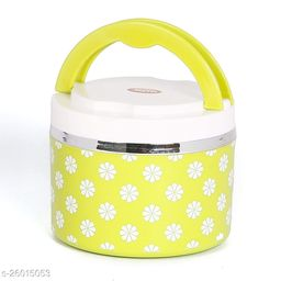 Jayco Venice Insulated Inner Steel Office Lunch Box with Salad Box, 1-Piece, 450 ml, Yellow