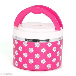 Jayco Venice Insulated Inner Steel Office Lunch Box with Salad Box, 1-Piece, 450 ml, Pink