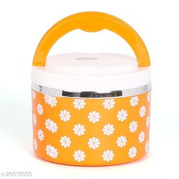 Jayco Venice Insulated Inner Steel Office Lunch Box with Salad Box, 1-Piece, 450 ml, Orange
