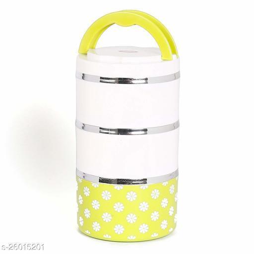 Jayco Venice 3 Insulated Stylish Designed Layers Lunch Box,Yellow