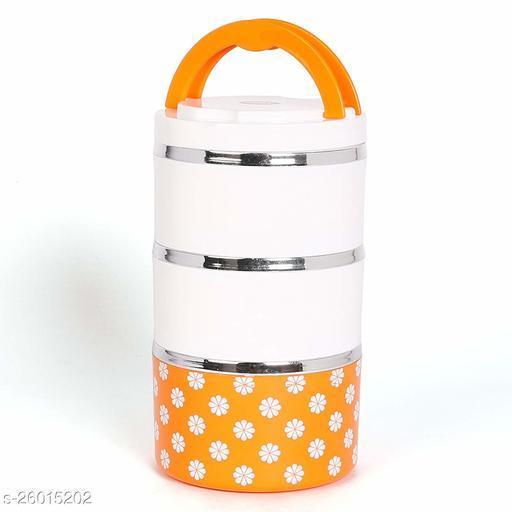 Jayco Venice 3 Insulated Stylish Designed Layers Lunch Box, Orange