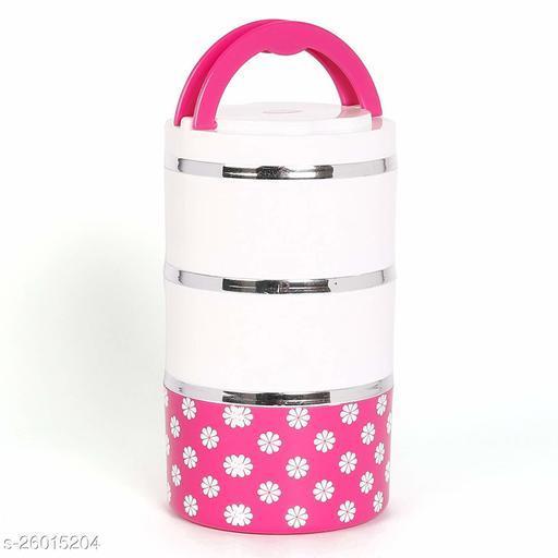Jayco Venice 3 Insulated Stylish Designed Layers Lunch Box, Pink