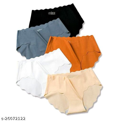 Women Seamless Multicolor Cotton Linen Panty (Pack of 5)