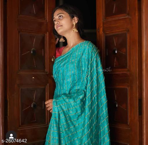 for women katan silk weaving designer saree with running blouse piece