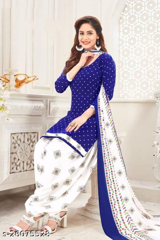Poly crepe Patiala Printed Unstiched Suits