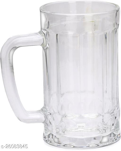 Designer Transparent Beer, Juice, Shake Mug/ Glass With Handle For Drinking Beverage (Set Of 1)