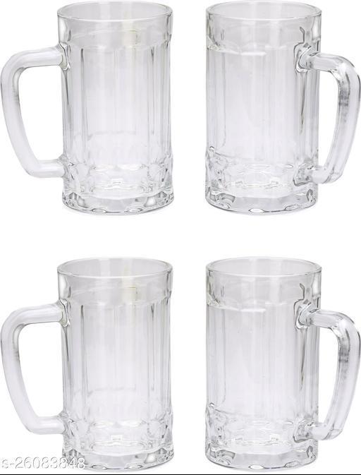Designer Transparent Beer, Juice, Shake Mug/ Glass With Handle For Drinking Beverage (Set Of 4)