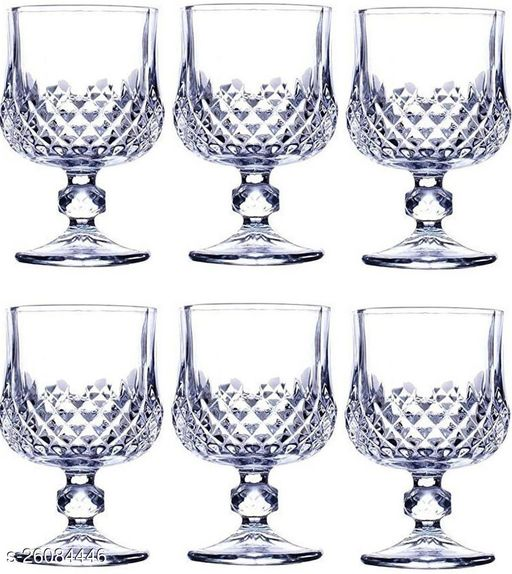 Royal Wine, Cocktail, Champagne Drinking Clear Glass Set , (Set Of 6)