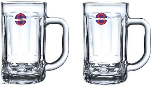 Designer Transparent Beer, Juice, Shake Mug/ Glass With Handle For Drinking Beverage (Set Of 2)