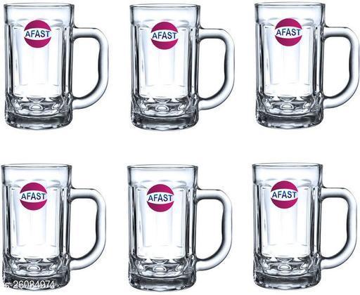 Designer Transparent Beer, Juice, Shake Mug/ Glass With Handle For Drinking Beverage (Set Of 6)