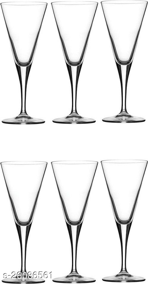 Afast Royal Wine, Cocktail, Champagne Drinking Clear Glass Set , (Set Of 6)