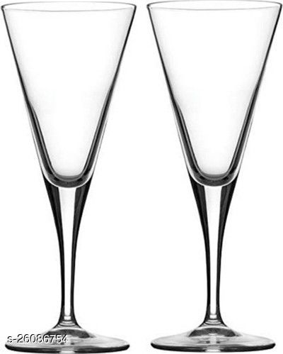 Afast Royal Wine, Cocktail, Champagne Drinking Clear Glass Set , (Set Of 2)