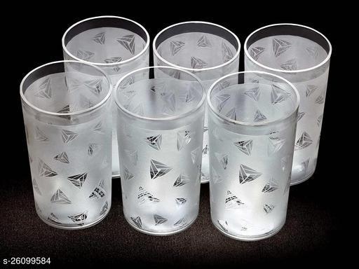 Smartclick Plastic Diamond Design Unbreakable Stylish Transparent Water Glass/Juice Glass/Beer Glass/Wine Glass Plastic Glass Set ( 300 ML , Pack of 6)