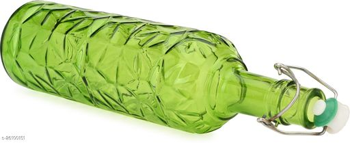 Afast Colorful Glass Water Bottle For Serving And Storage, Airtight, Green, 1000ml