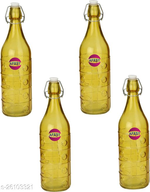 Afast Colorful Designer Glass Water Bottle With Airtight Crock Lid, Glass, 1000 Ml, Sami Transparent, Yellow, (Set Of 4)