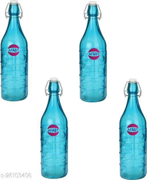 Afast Colorful Designer Glass Water Bottle With Airtight Crock Lid, Glass, 1000 Ml, Sami Transparent, Blue, (Set Of 4)