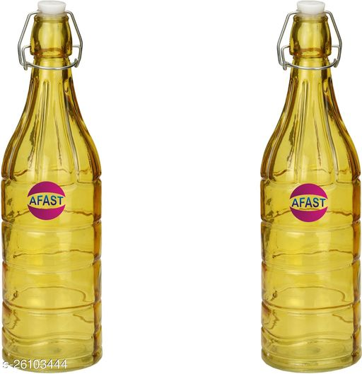 Afast Colorful Designer Glass Water Bottle With Airtight Crock Lid, Glass, 1000 Ml, Sami Transparent, Yellow, (Set Of 2)