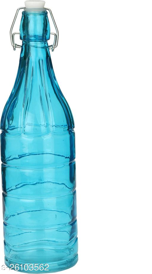 Afast Colorful Designer Glass Water Bottle With Airtight Crock Lid, Glass, 1000 Ml, Sami Transparent, Blue, (Set Of 1)