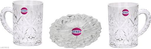 Afast Drinking Set Of 2 Glass/ Mug With 1 Snack Plate, Transparent, Clear, With Handle