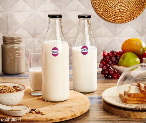 Afast Multi Purpose Glass Transparent Milk Bottle, 2 Bottle, 200 Ml