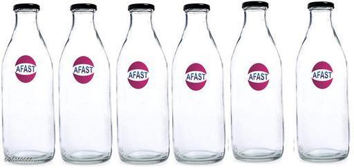 Afast Multi Purpose Glass Transparent Milk Bottle, 6 Bottle, 300 Ml