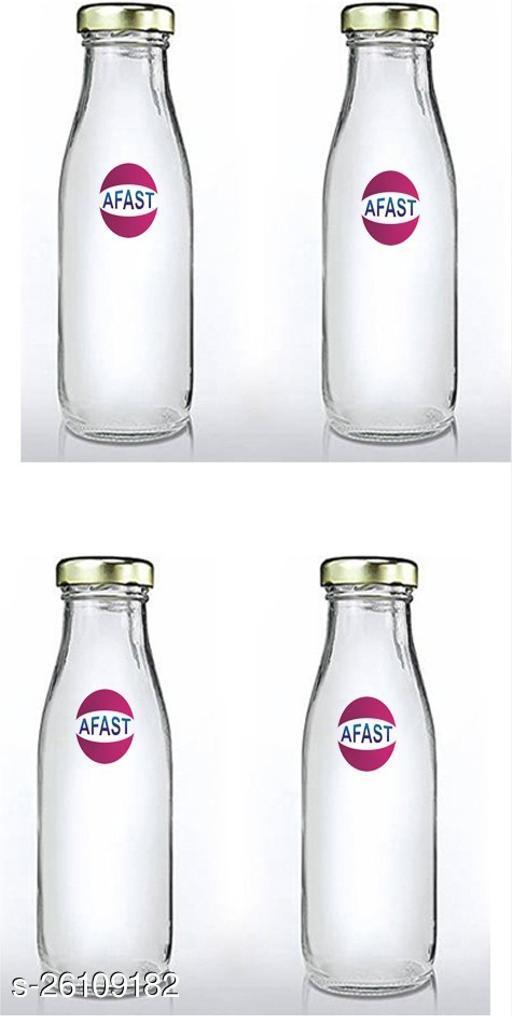 Afast Multi Purpose Glass Transparent Milk Bottle, 4 Bottle, 500 Ml