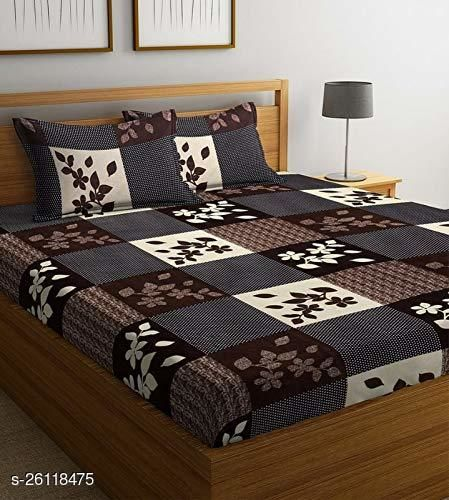KARTKING INDIAN GLACE COTTON DOUBLE BED BEDSHEET 90*90