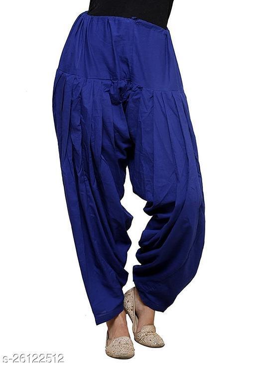 KriSo Women's Cotton Patiala Salwar Free Size Blue Colour