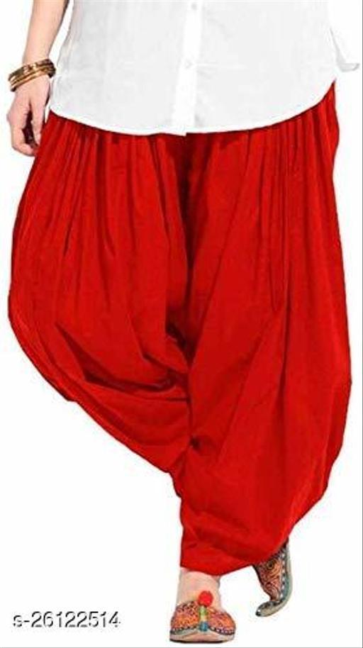 KriSo Women's Cotton Patiala Salwar Free Size Red Colour