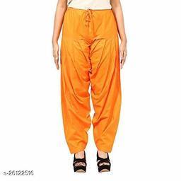 KriSo Women's Cotton Patiala Salwar Free Size Orange Colour