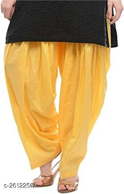 KriSo Women's Cotton Patiala Salwar Free Size Yellow Colour