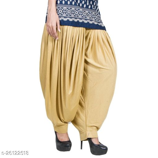 KriSo Women's Cotton Patiala Salwar Free Size Gold Colour
