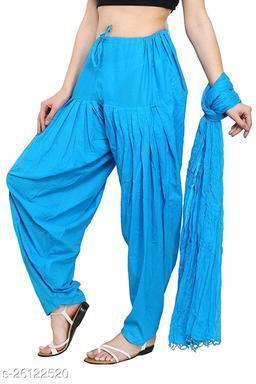 KriSo Women's Cotton Patiala Salwar Free Size SkyBlue Colour