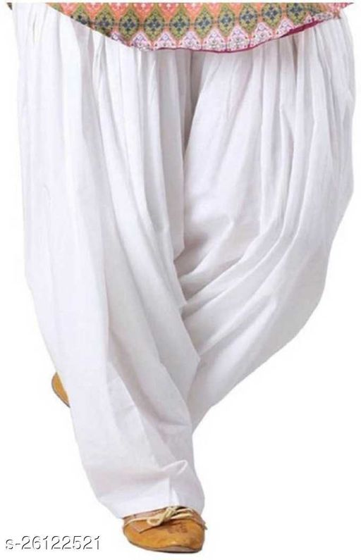 KriSo Women's Cotton Patiala Salwar Free Size White Colour